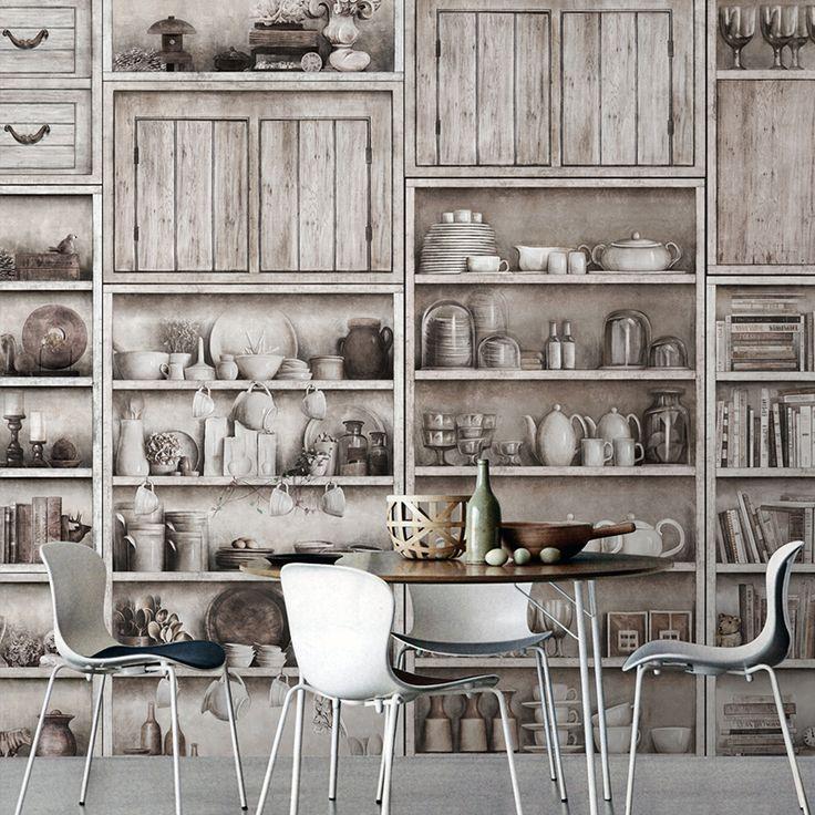 Бесплатная доставка Старые деревянные шкафы супер большая фреска с сердцем свободное сочетание нетканые бумажные обои на заказ размер