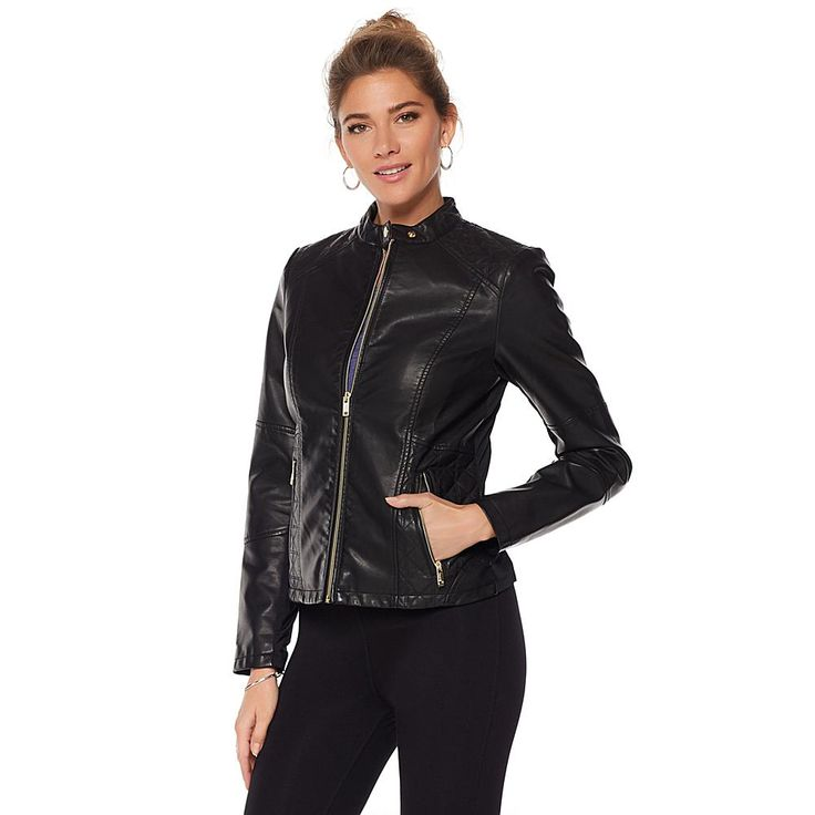 Warrior by Danica Patrick Faux Leather Jacket with Hood - Plgldshnyslvrtrim