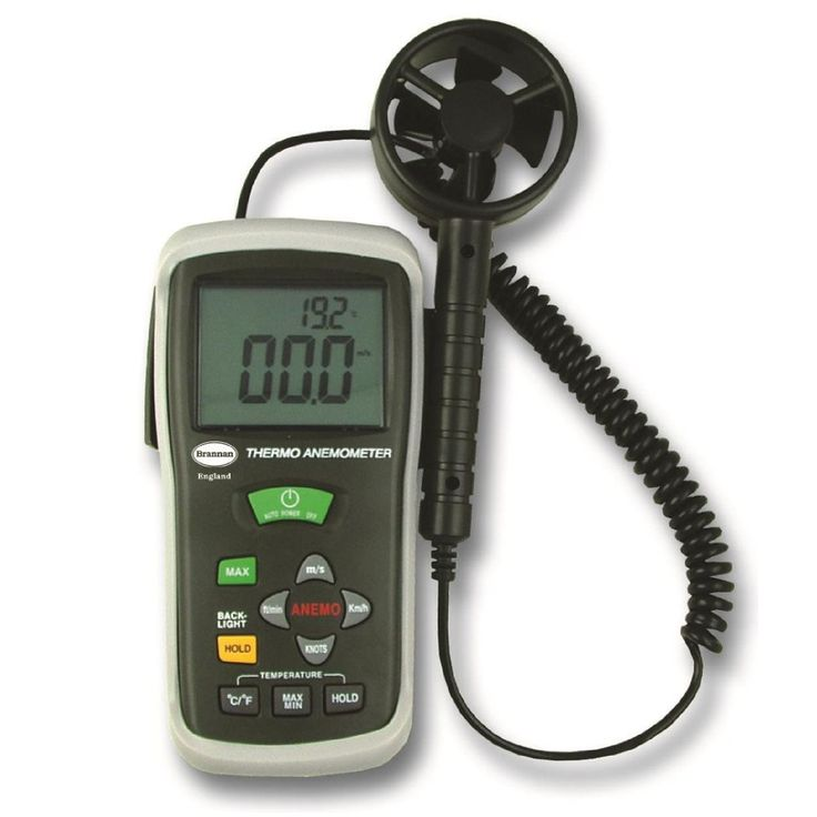 Wind speed meter which simultaneously displays air flow and ambient temperature. High sensitivity and accuracy. Supplied in protective case.
