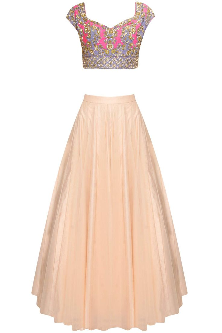 Blush peach firework embroidred lehenga set available only at Pernia's Pop Up Shop.