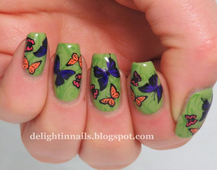 Delight In Nails: Butterfly Manicure for Spring nail art design.  #1 shopping tip http://GoGetSave.com and get more than just a receipt!