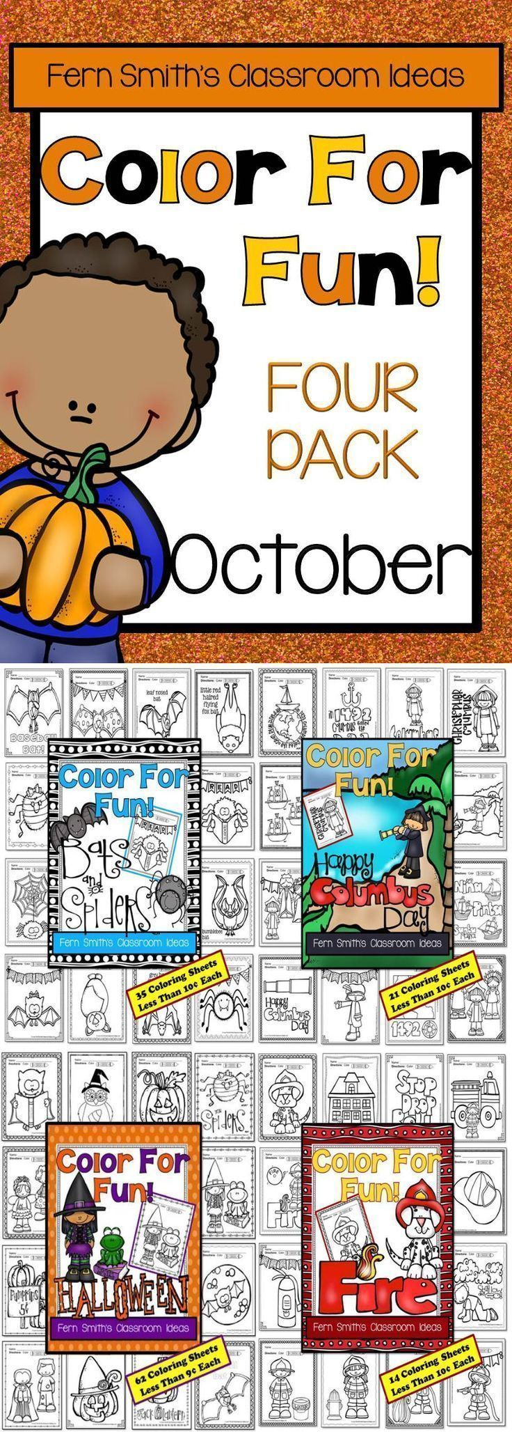 Color For Fun Holiday Four Pack of Printable Coloring Pages {133 coloring pages equals less than 9 cents a page.} ♦ This convenience bundle contains the following FOUR resources: 1. Fire Prevention and Safety 2. Columbus Day 3. Halloween and 4. Spiders and Bats with No Halloween References #TPT #Halloween #ColorForFun #FirePrevention #FireSafety  #ColumbusDay #Spiders #Bats $Paid