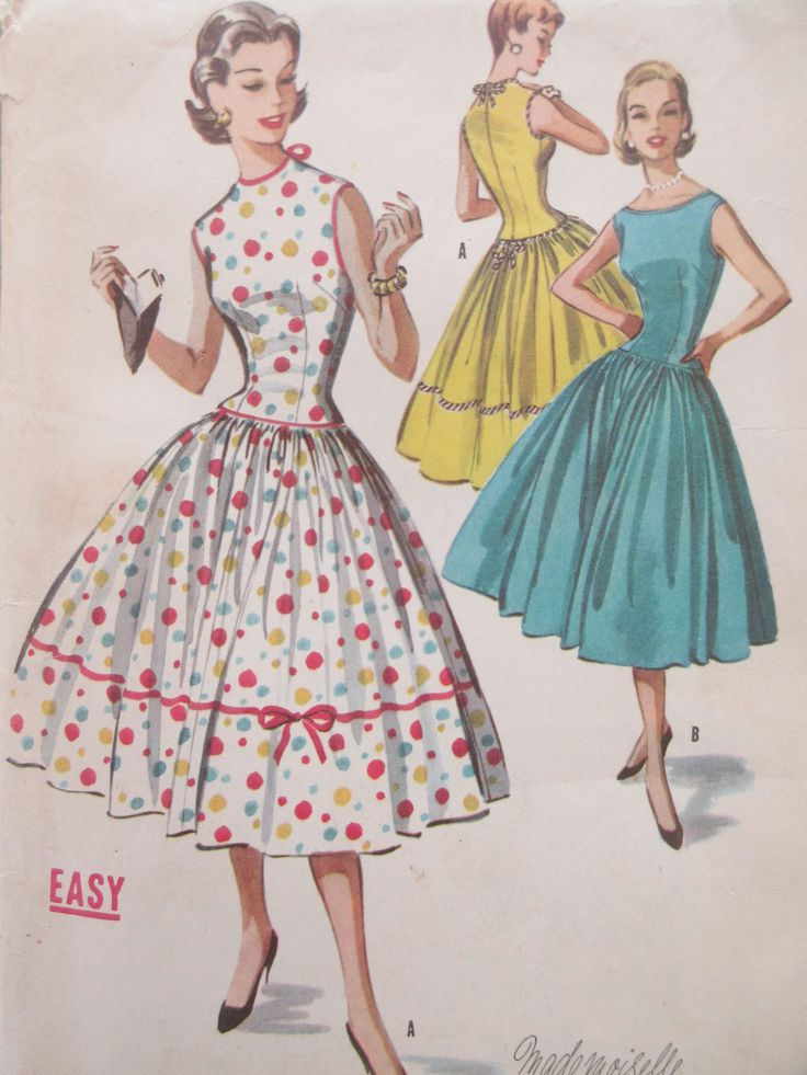 Vintage McCall's 3648 Sewing Pattern, 1950s Dress Pattern, Full Skirted Dress, Sleeveless Dress, Bust 36, 1950s Sewing Pattern, Party Dress by sewbettyanddot on Etsy