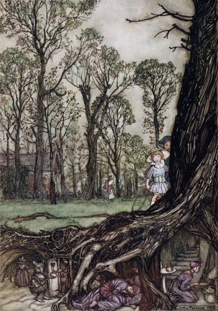 Arthur Rackham ~ Fairies are All More or Less Hiding until Dusk ~ Peter Pan in Kensington Gardens by J. M. Barrie ~ 1906