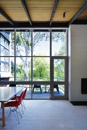 Soaring ceilings and extensive glazing create a generous interior.