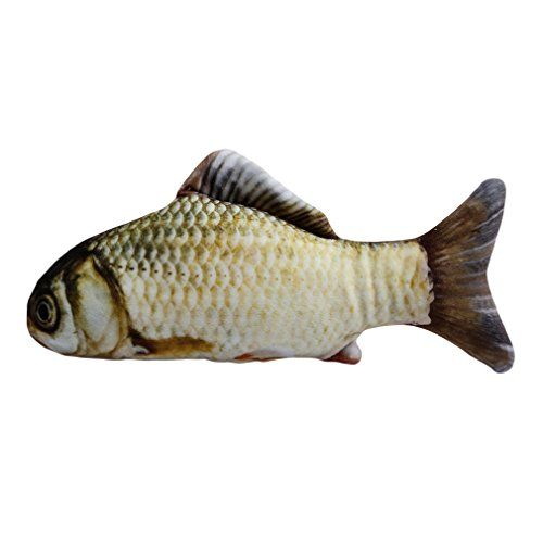 From 1.28 Hengsong Cute Fish Shape Catnip Cat Chew Toys Teeth Grind Claws Cat Pillow (20cm Grass Carp)