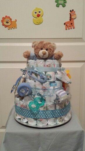 Custom baby boy diaper cake $80 Sold