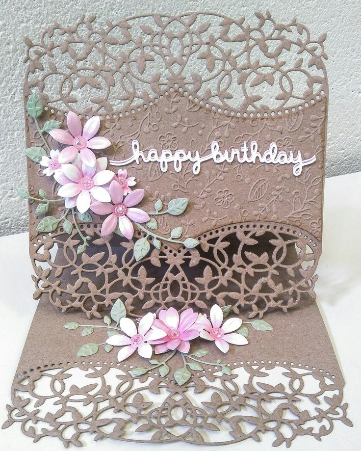 Easel Birthd Easel birthday card using Die'sire edgeable dies and Sara Davies Signature floral dies