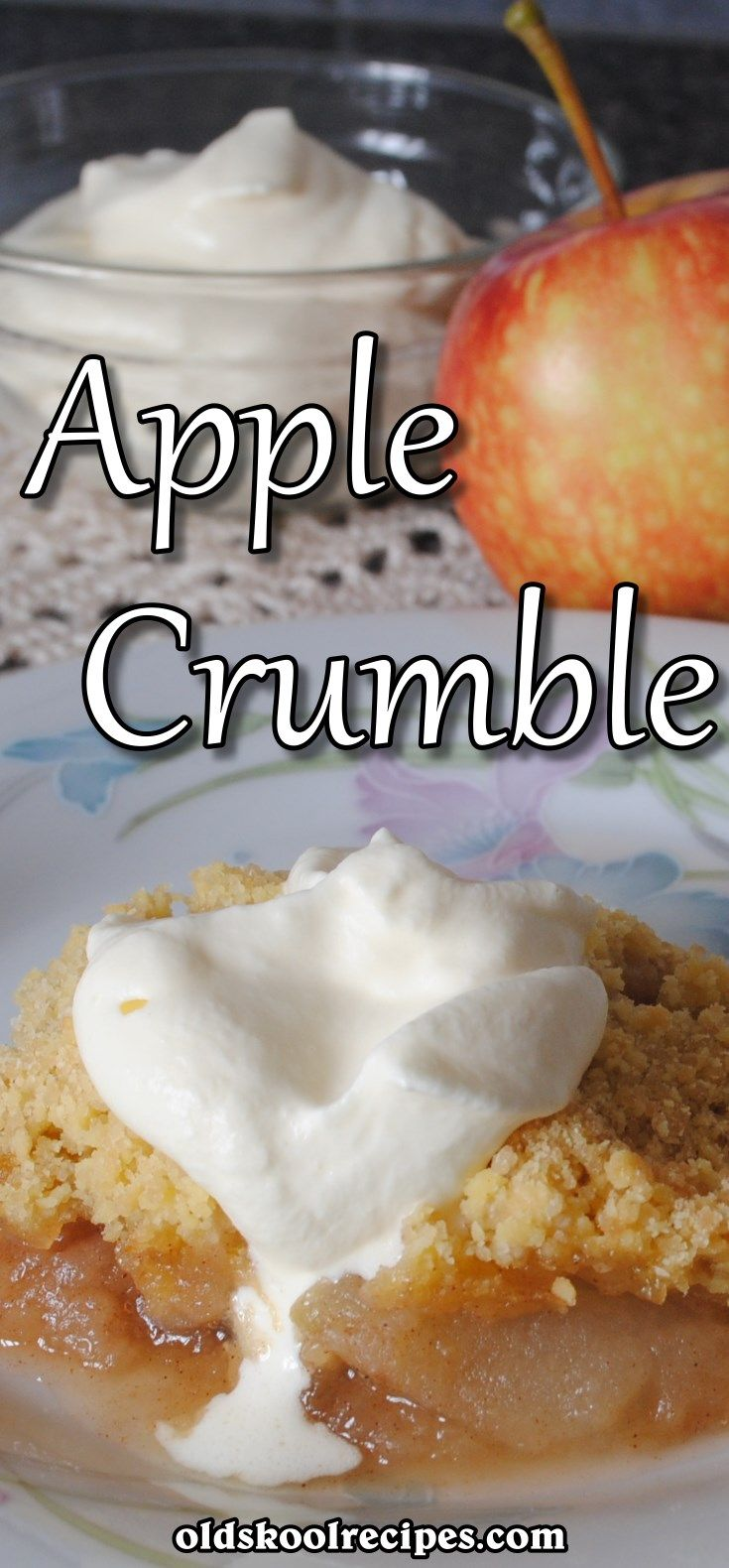 Apple Crumble Pudding Recipe | Old Skool Recipes. Easy Apple Crumble Pudding recipe is absolutely flop-proof! A juicy and yummy apple pie filling is covered with a crispy cookie-like topping, this crumble will become your favourite dessert!