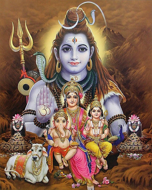 As a family man and householder, he has a wife, Parvati, and two sons, Ganesha and Kartikeya.