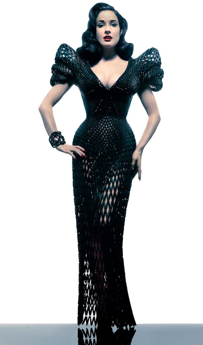 Dita Von Teese in a fully articulated 3D printed dress by Michael Schmidt and Francis Bitonti