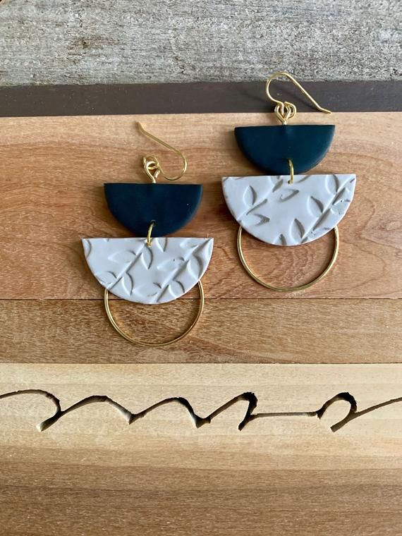 DYLAN in black & greige (floral) | Polymer Clay Statement Earrings, Modern Earrings, Handmade Earrings