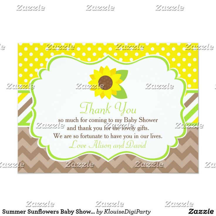 Summer Sunflowers Baby Shower Thank You Card