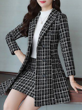 Checkered/plaid Work Coat With Skirt Two-Piece Set