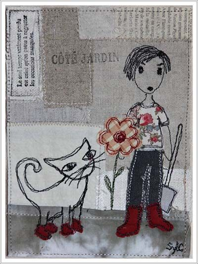 Le chat - collage textile