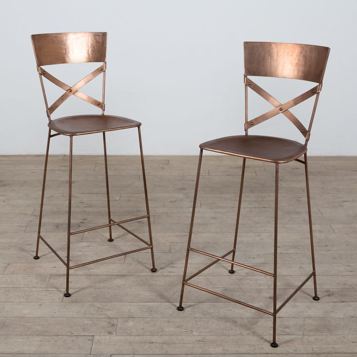 REALLLLY LOVE - Set of 2 Jabalpur Copper Bar Stools (India) | Overstock.com Shopping - The Best Deals on Bar Stools