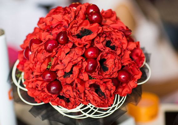 Bouquet sposa matrimonio nozze fiori papaveri di VeroSweetLove