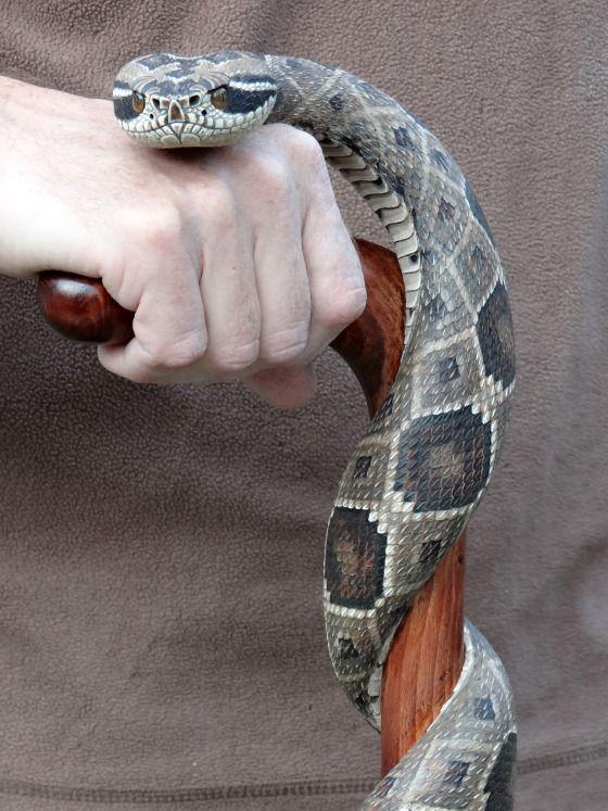 Hand carved rattlesnake walking cane. By Mike Stinnett