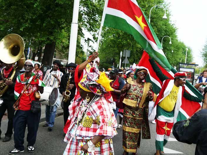 "Keti Koti is a word from Surinam and means ""broken chains"". It's the annual festival to remember the end of the dutch slavery in on 1st of july 1863."