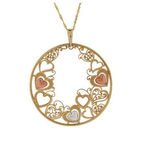 14k Gold Cosmo Design Sweet Heart Collection Pendant