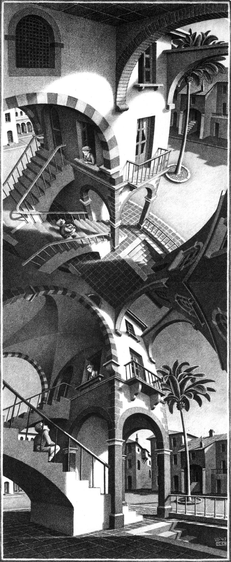 High and Low - M.C. Escher / one of my fave artists!! Love the illusion work