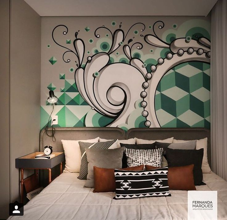 Really great use of urban art in a sophisticated way. If you're looking to add a pop of energy to a space, but don't want to go crazy with color, this is a perfect example!