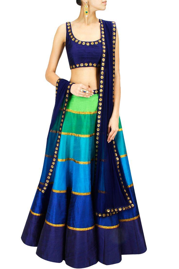 Tones of blue and green sequin embroidered lehenga set BY PRIYAL PRAKASH.