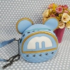 "Bolsa Feminina Couro Sintético Azul ""Mickey/Minnie"""