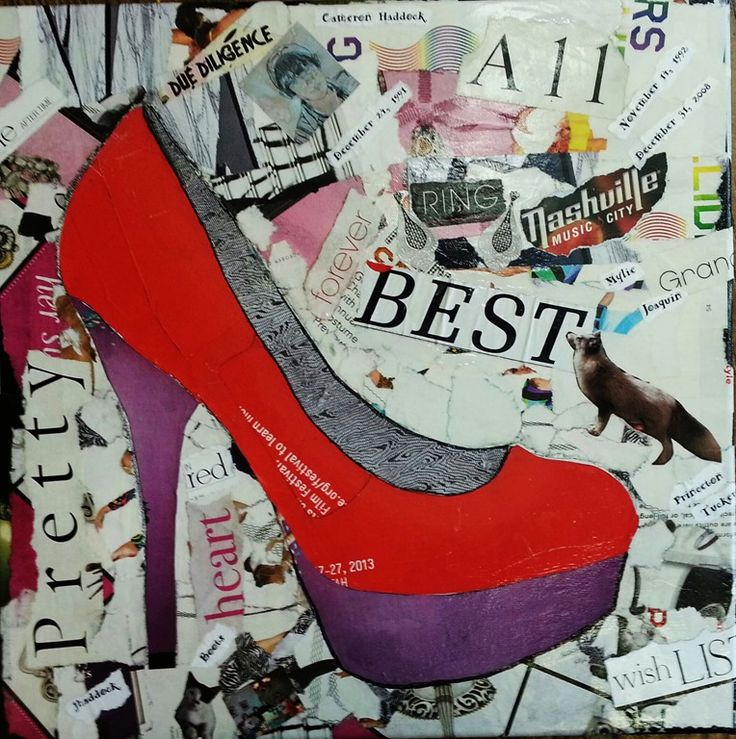 Red High Heel a 16 x 16 gallery wrapped canvas created with torn papers. I  thought I would never do a collage of a ladies shoe, but this one (my  first).