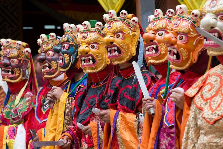 Scary masks - disciples of Dorci Dorlo by Raphael Bick on Flickr | Jakar, Bumthang, Bhutan