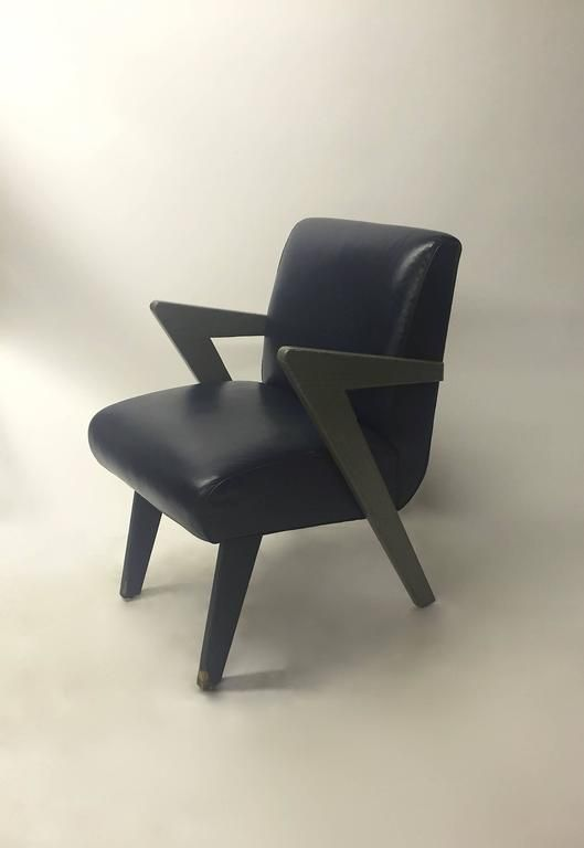 Set Of Four Dining Chairs In The Style Of Paul Laszlo, Made Custom In 1980
