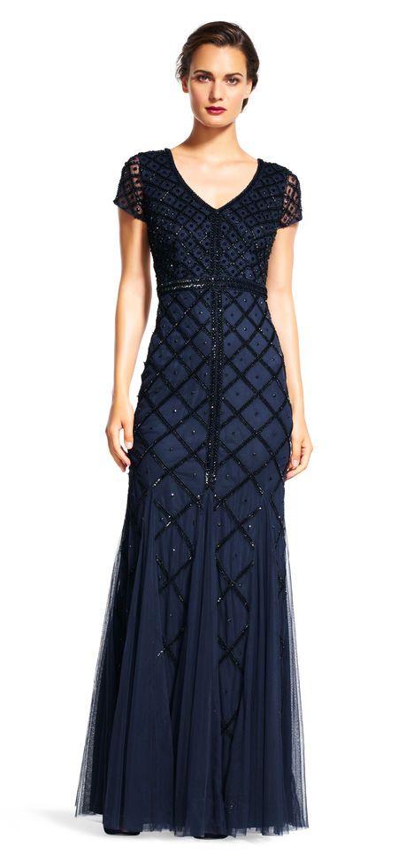 Adrianna Papell | Short Sleeve Diamond Beaded Godet Gown