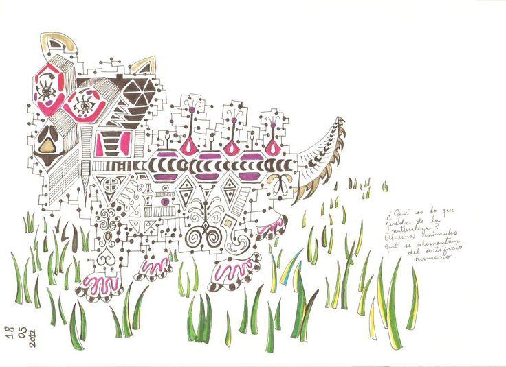"""""""Animal"""" 2013, dibujo tinta y rotuladores."""