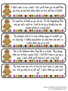Gingerbread man hunt.... it's set up for a school hunt but I bet it would be fun & easy for around the house too. Pin now, read later. Everything I do is gingerbread man related.