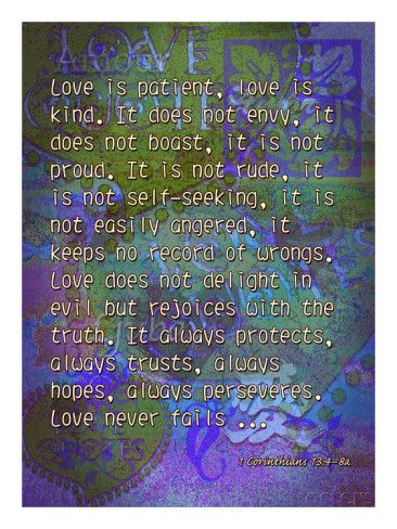1 Corinthians 13:4-8A Giclee Print by Cathy Cute at AllPosters.com