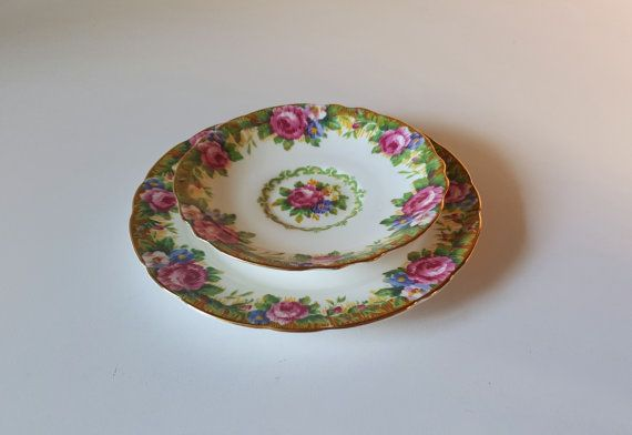 Vintage Paragon Double Warrant TAPESTRY ROSE Plate by RetroEnvy21