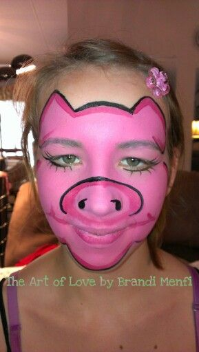 """My pretty pink pig face painting design. Lol! Too cute! Original from """"The Art of Love"""" by Brandi Menfi."""