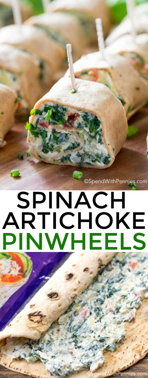 Spinach Artichoke Pinwheels | Spend with Pennies | Tender flatbread filled with creamy spinach and artichoke dip and rolled into bite sized pinwheels.