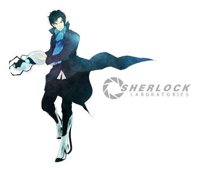 Sherlock Laboratories by inklou on deviantART -- SHERLOCK DEFINITELY USED THE PORTAL GUN TO SURVIVE RICHENBACK