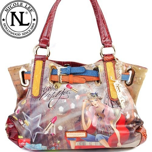 Amazon.com: Nicole Lee Layla Print Large Shoulder Bag Gitana Vintage Print Faux Croco Accents and Faux Python Belt Buckle Strap Ornamentation Woven Around Top Handbag Purse Hollywood Celebrity Thought of You Print Tote in Burgundy Wine and Beige: Clothing $55.99