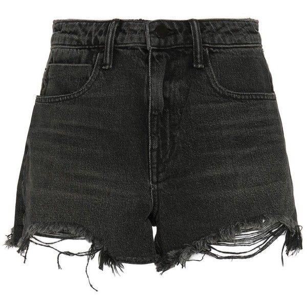 Alexander Wang Bite High Rise Frayed Aged Shorts (£96) ❤ liked on Polyvore featuring shorts, bottoms, pants, short, denim shorts, grey, cut off jean shorts, cut-off shorts, high-waisted jean shorts and high waisted cut off shorts