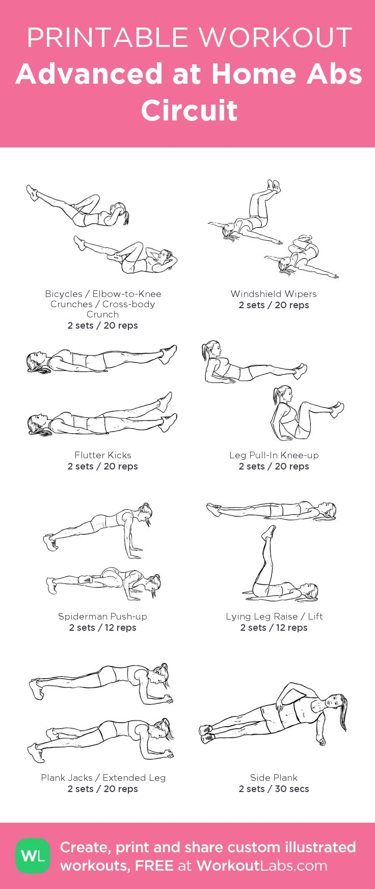 Advanced at Home Abs Circuit: my visual workout created at WorkoutLabs.com • Click through to customize and download as a FREE PDF! #customworkout