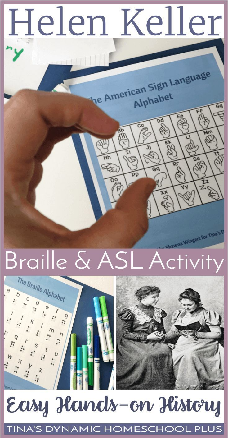 Hands-On History: Helen Keller Braille and ASL Activity. If you're looking for a fun and easy way to incorporate a hands- on idea for language arts and history while studying about Helen Keller, your kids will love this Braille & ASL activity. Click here to make it!