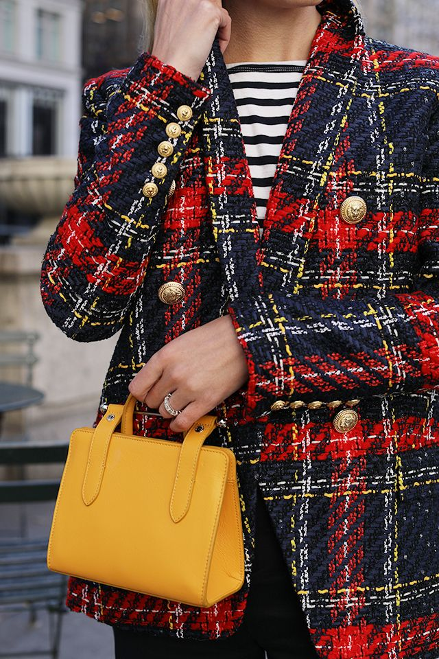 Fall details. Striped tee, a plaid blazer, and a bright bag // Click through for full outfit details!