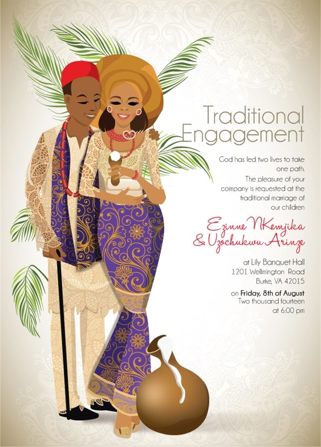 OMASILI'M - NIGERIAN IGBO TRADITIONAL WEDDING INVITATION (IGBA NKWU) Omasili'm, the one that drives you crazy.... take the bold first step in announcing your love to the world with this customizable invitation!
