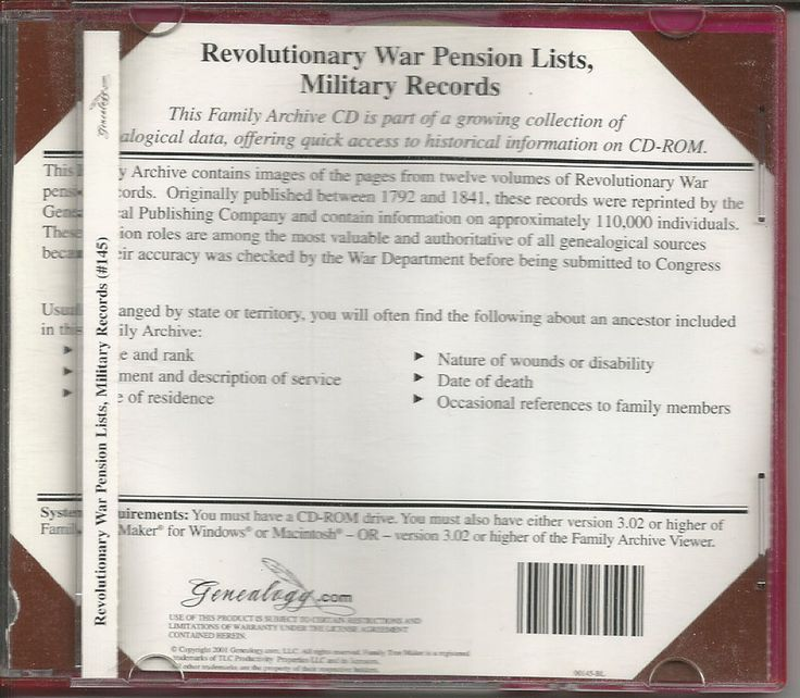 Cool Family Archives CD 145: Military Records, Revolutionary War, Pension Lists #FamilyTreeMaker...   Genealogy eBay Selling Check more at http://ukreuromedia.com/en/pin/11971/