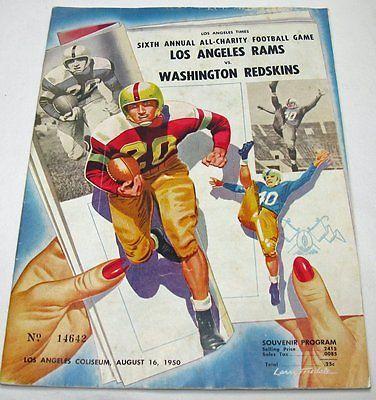 August 16, 1950 Los Angeles Rams vs. Washington Redskins NFL Football Program