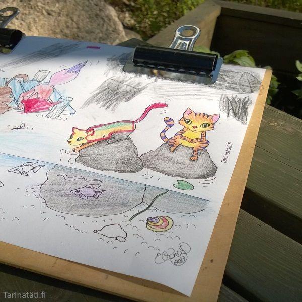 Tarinatädin värityskuvat mökkimaisemissa | Tarinatädin värityskuvat
