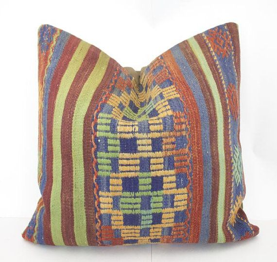 Colorful Floor Cushion Cover 24x24 Home Blue Kilim Fabric