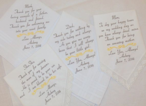 Embroidered Wedding Handkerchiefs Personalized set of 4 entire family wedding bridal party gifts by Napa Embroidery on Etsy